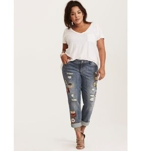 Torrid Distressed Roadtrip Patch Boyfriend Jean 18